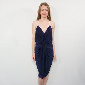 MISA Los Angeles Navy Draped Midi Dress